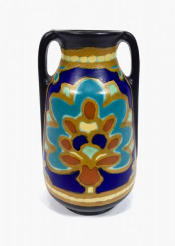 Antique Gouda Pottery Jug / Vase / Art Deco Design / Regina Factory Blue Yellow